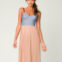 ~$93.00 Motel Crissy Denim Bustier Midi Dress in Natural - Motel Rocks