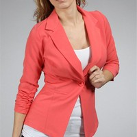 Dark Coral Fitted 3/4 Sleeves Blazer