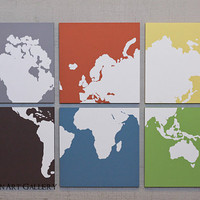 The Multi Colored World Map Screen Print by CallaghanArtGallery