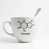Caffeine Chemistry Coffee Cup - Porcelain Cup with Caffeine Molecule