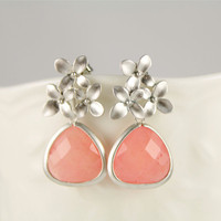 Pink Agate Cherry Blossom Earrings Wedding by anatoliantaledesign