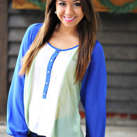 Love Your Tone Top: Royal/Mint | Hope&#x27;s