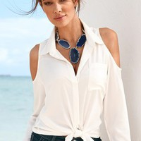 Cold-shoulder blouse - Boston Proper
