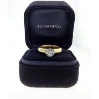 Tiffany & Co. 18k Yellow Gold & Platinum 1.09ctw Brilliant Cut Diamond Engagement  Ring, Size 6.25
