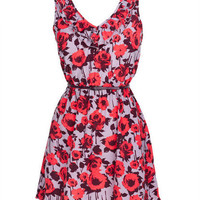 Rose Print Ruffle Front Dress