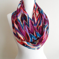 Chevron Soft Infinity scarf, Zig Zag Jersey Fabric, Colorful ikat Circle scarf, Loop scarf, scarves, spring - fall - winter - summer fashion