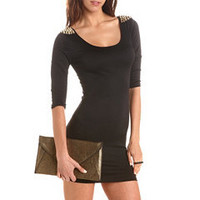 Spiked Shoulder Body-Con Dress: Charlotte Russe