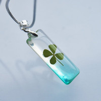 Petite Four Leaf Clover Necklace Lucky by NaturalPrettyThings