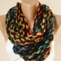 Rainbow..Winter Accessories-Infinity Scarf-Loop Scarf-Circle Scarf