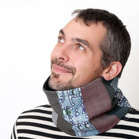 Men Scarf - Electronic Circuit Print - Geek cowl -  brown, grey, blue
