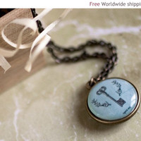 Skeleton key necklace - Personalized word necklace - Name, initials, quote (N037)