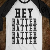 Hey Batter Batter-Unisex White/Black T-Shirt