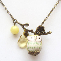 Antiqued Brass Leaf  Quartz Jade Porcelain Owl necklace by gemandmetal