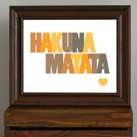 Typography Art Print Hakuna Matata quote from by CisforColor