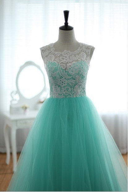 Lace tulle wedding dress prom ball gown from wonderxue on etsy for Prom dress as wedding dress