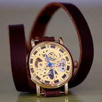 Mechanical Skeleton Gold Watch - Leather Wrap Watch FREE SHIPPING