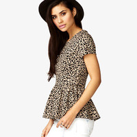 Leopard Print Peplum Top | FOREVER 21 - 2023213325