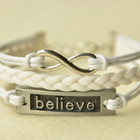 Silver Infinity & Believe Charm Leather Bracelet White by MissKids