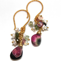 Watermelon Tourmaline Slice Earrings Ethiopian Opal Keshi Pearl Dangle Cluster Earring Gold Vermeil Handcrafted Gemstone Jewelry