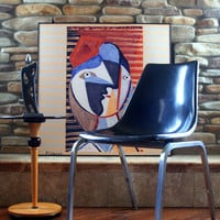 Black is the new Black VINTAGE FIBERGLASS SHELL Chair Eames Style H Base Circa 1960 by Krueger Retro Furniture Chicago