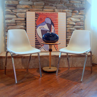 Pair of Chairs 2 VINTAGE WHITE SHELL Chairs Eames Style H Base Circa 1960 by Hon Retro Furniture Chicago