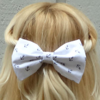 White and black anchor bow hair clip  big by VintageBowBoutique