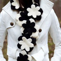 Flower scarf in classy Black and White by BglorifiedBoutique