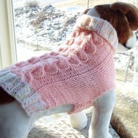Dog Sweater Hand Knit Soft Peach Double Cable Medium by jenya2