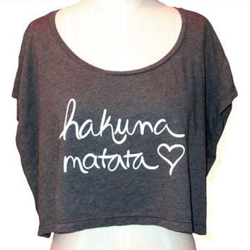 Crop Top Hakuna Matata in Almost Black and White by ShopRIC