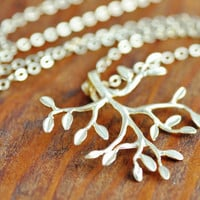 Gold Tree Necklace - silver branch necklace, tree of life, silver tree pendant, family tree necklace, sterling necklace