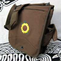 Celtic Knot Sunflower Engineer Messenger Bag Brown Canvas Embroidery