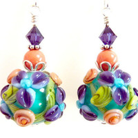 Turquoise Floral Earrings, Aqua Purple Coral Peach Green Blue Chintz Glass Beaded Flower Earrings, Mothers Day, Easter, Turquoise Bouquet