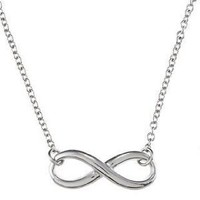 .925 Sterling Silver Infinity Sign Necklace 18&quot;