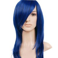 Dark Blue Long Length Anime Cosplay Costume Wig