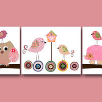 "Art for Children, Kids Wall Art, Baby Girl Nursery Room Decor, Baby Nursery print, set of 3 8"" x 10"" Print owls decoration birds rose turtle"