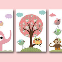 "Art for Kids Room Kids Wall Art Baby Girl Nursery Baby Room Decor Baby Nursery print set of 3 11"" x 14"" elephant giraffe monkey rose owl"