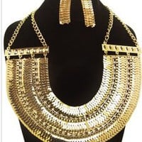GOLD CLEOPATRA COLLAR NECKLACE SET — Tanny's Couture LLC