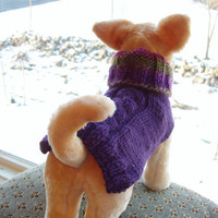 Dog Sweater Hand Knit Grape Cable Merino Wool Small by jenya2