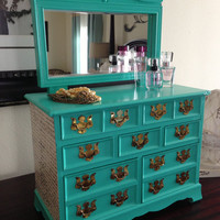 Vintage Dresser Style Jewelry Box Upcycled In Turquoise with  Beveled Mirror