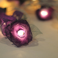 20 White and purple handmade real leaf Rose flower by cottonlight