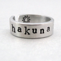 Personlized Lion King Ring - Hakuna Matata - Hand Stamped Aluminum Ring - Customizable
