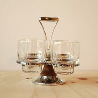Vintage Cocktail Glasses with Caddy Aluminum Woodgrain MCM