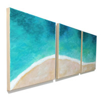 Beach Art, TROPICAL SHORELINE, Set of 3 12x12 Canvas Paintings