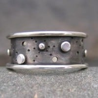 dark sterling silver wide band . (( Starscape Ring )) . unisex . READY TO SHIP in size 6.5