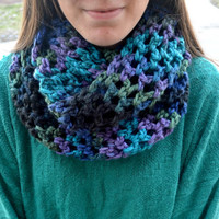 Blue Purple and Grey Crocheted Infinity Scarf