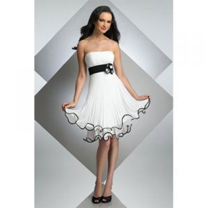 Attractive Strapless Knee-length Satin Cocktail/ Evening Party Dress