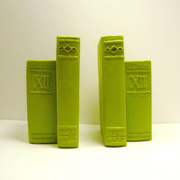 neon vintage bookends // chartreuse lime green // by nashpop