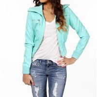 Pre-Order: Mint Faux Leather Jacket