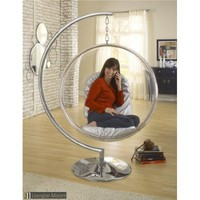Eero Aarnio Bubble Chair With Silver Seat Cushion
