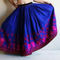"Tribal Skirt - Kuchi Skirt - Gypsy Skirt with amazing wide hand-embroidered bottom span - AUTHENTIC VINTAGE  ""req45083"